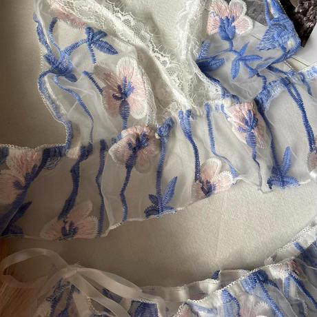 選べる Ssize・Msize white × blue  【 A-0294】