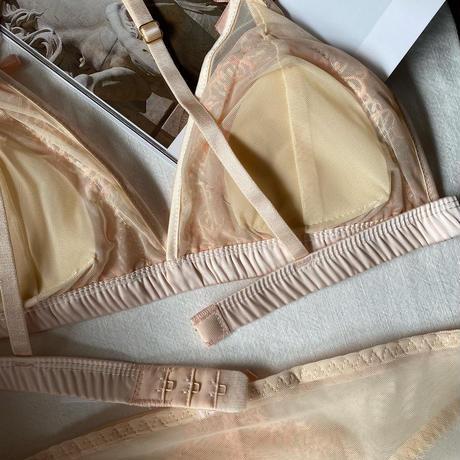 flower bralette set pink beige  【 A-0298】