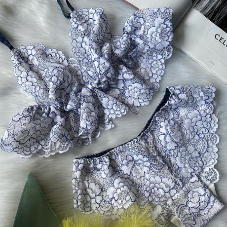 Flutter lace bralette white×blue 【 T-0122】