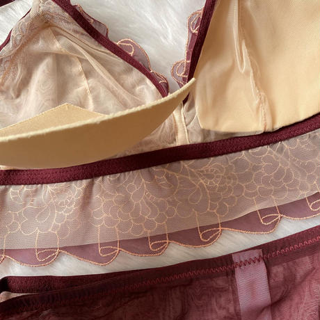 選べるM ・L size Floral bralette set burgundy 1 【A-0001-BU】