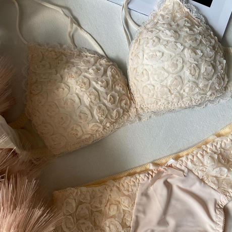 flower bralette set ivory  【  A-0298-WH】