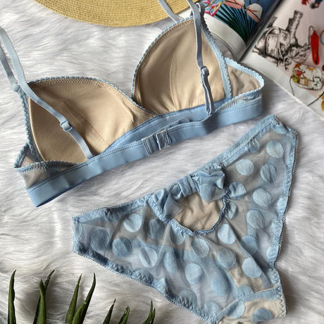 Ssize・Msize パッド付き dot bralette set up pastel blue