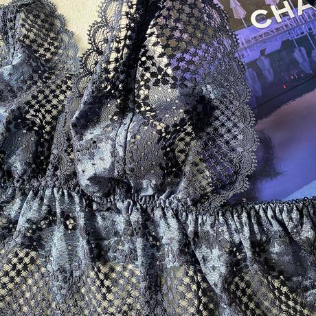 Flutter lace bralette navy