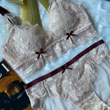パッド付き bralette set up  light pink × wine