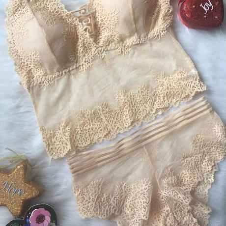 パッド付き lace bralette set up beige