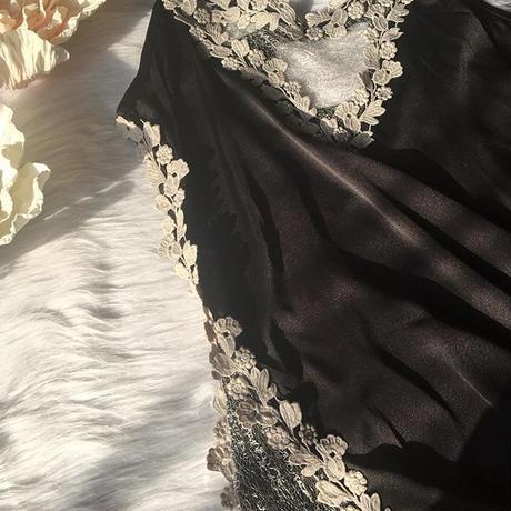 satin flower slip black