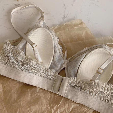round lace bralette set up beige 【A-0011-BE】