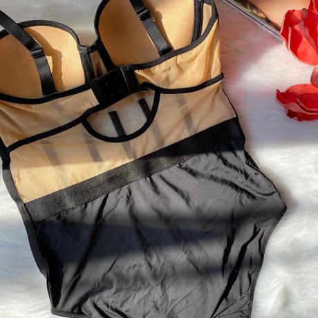 beige × black flower   bodysuit 【A-0033】