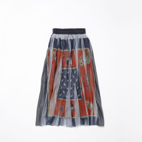 【new】Pleated l skirt(red navy skirf)74cm丈
