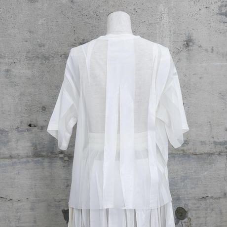 チュールTシャツ(white×white)