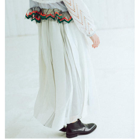 【Standard】Rubber long skirt(white)