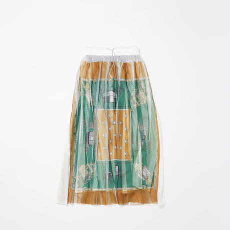 【new】Pleated l skirt(green orange skirf)74cm丈