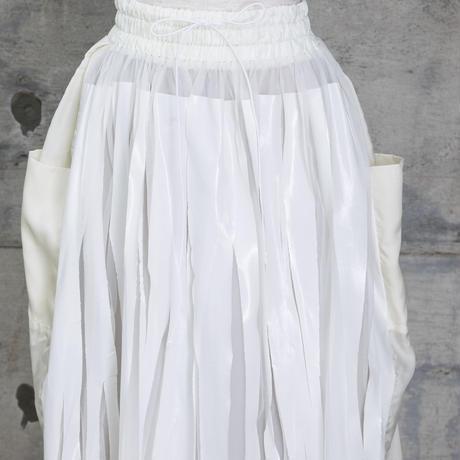 ラバープリントプリーツスカート(white)