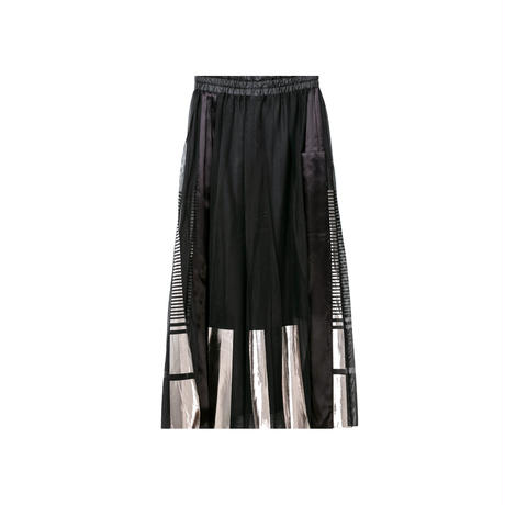 箔ボーダープリーツスカート(black×silver)