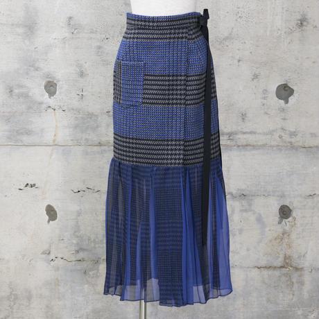 裾シフォンスカート風パンツ(blue check)