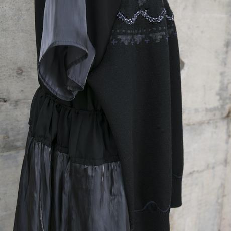ニットドッキングワンピース(black)
