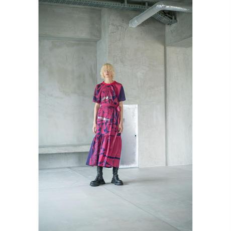 T型プルオーバー(スカーフ柄)/(pink×navy)