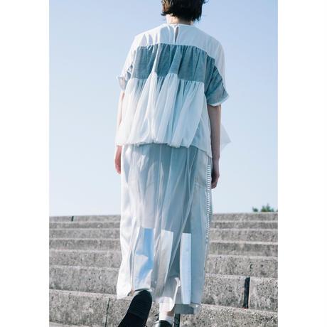 箔ボーダープリーツスカート(gray×silver)