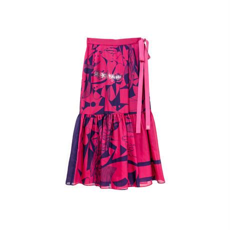 スカート風パンツ(スカーフ柄) /(pink×navy)