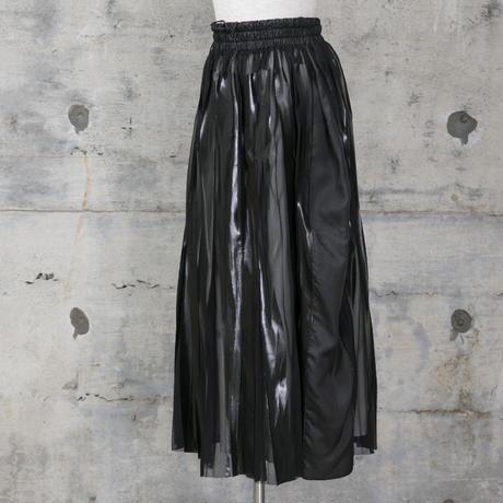ラバープリントプリーツスカート(black)
