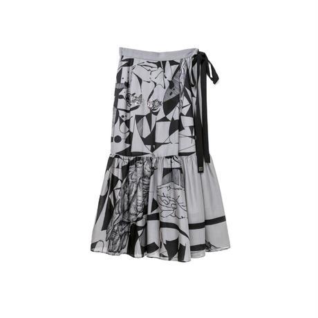 スカート風パンツ(スカーフ柄) ( charcoal×black)