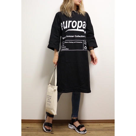 europaプリントTシャツワンピース【BLACK】