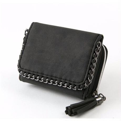 チェーンミニタッセル三つ折り財布【BLACK】