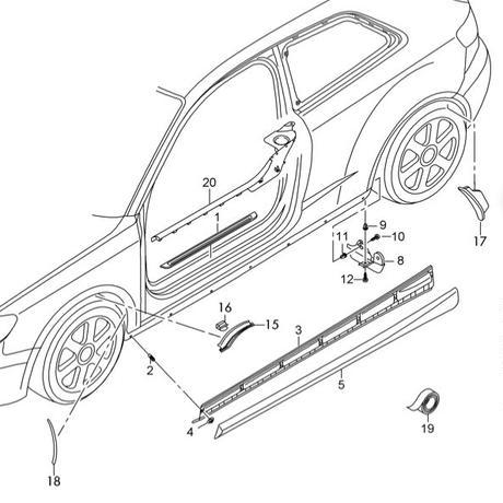 Audi 純正品 A3  S3 スポーツバック セダン 8V フロント ホイールアーチカバー (オーバーフェンダー)