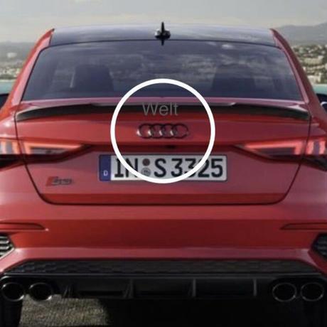 Audi 純正品 A3 S3 セダン 8Y リア グロスブラック 4リングス エンブレム