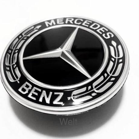 Mercedes-Benz  純正品 ボンネットバッチ (ブラック ローレルリース フードエンブレム )   W221 W222  W211 W212 W204 W205