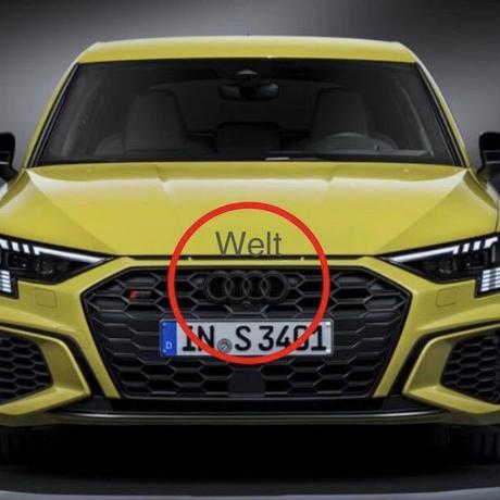 Audi 純正品 A3 S3 8Y フロント グロスブラック 4リングス エンブレム