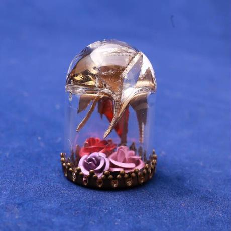 【Hiina Rose】/HINA割れシンバル使用! 卓上ガラスドーム・ペーパーウェイト(薔薇のカラー:ピンク/レッド/ライラック)【一点もの】
