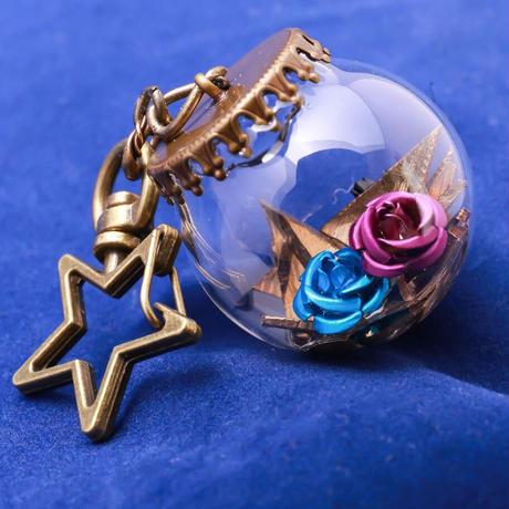 【Hiina Rose】/HINA割れシンバル使用! ガラスドーム・スターキーホルダー(薔薇のカラー:ブルー/ブラ ック/パープル)【一点もの】