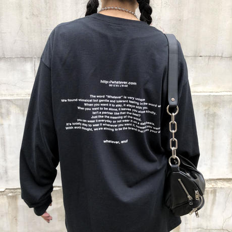"""whatever"" Long T-shirt    black"