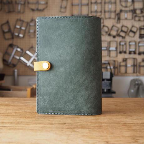 『フロッグダイアリー』カエルの手帳カバー イエロー×ローリエグリーン バイブルサイズ