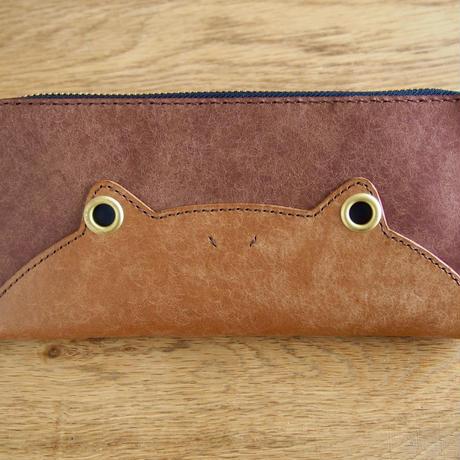 『ケロングウォレット』カエルの財布 ブラウン×ダークブラウン