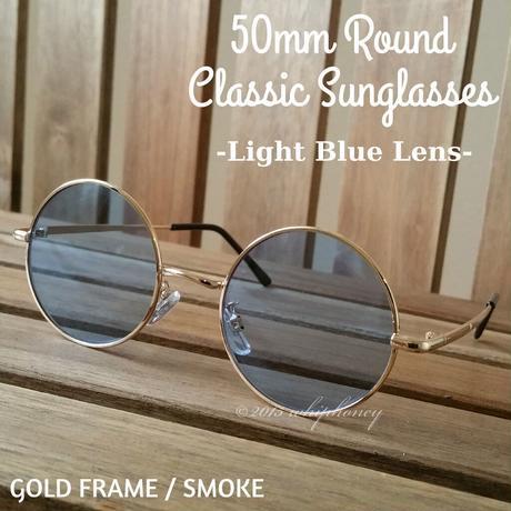 トレンドの50mm金縁丸メガネUVサングラス ライトスモークブルー