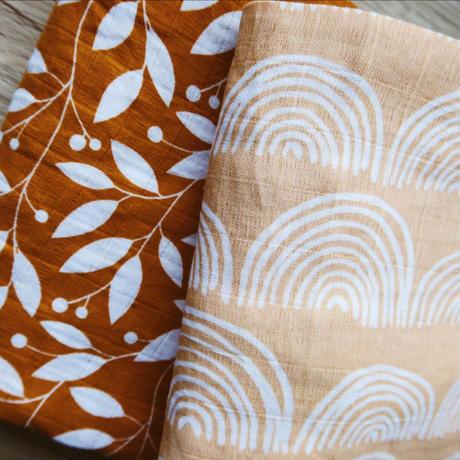 Saly's rainbow muslin cotton  blanket/サリーのレインボーおくるみセット(2枚組)