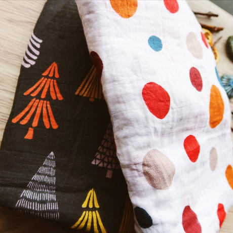 Autumn in the village muslin cotton blanket/村に訪れた秋のおくるみセット(2枚組)