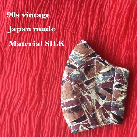 ◼️親子セット◼️ Vintage necktie upcycle mask  (brown base)
