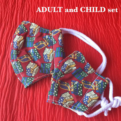 ◼️親子セット◼️ Vintage necktie upcycle mask  (P.B red)
