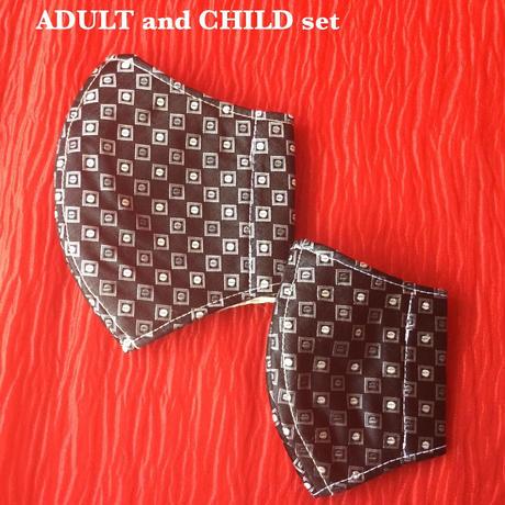 ◼️親子セット◼️ Vintage necktie upcycle mask  (black dot)