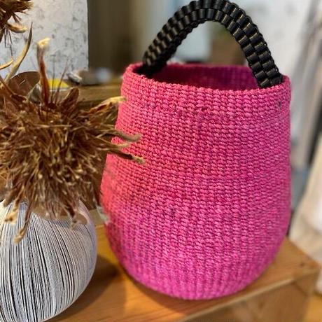 手編み持ち手革 カゴバック