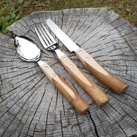 木製グリップ カトラリーセット スプーン フォーク ステーキナイフ