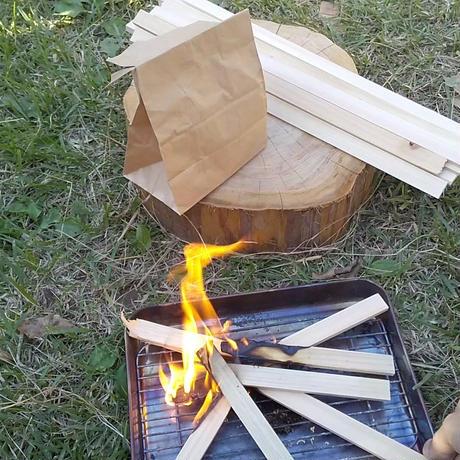 焚き付け用 ひのき おがくず(1袋)&薪(約2.6kg) 箱80サイズ