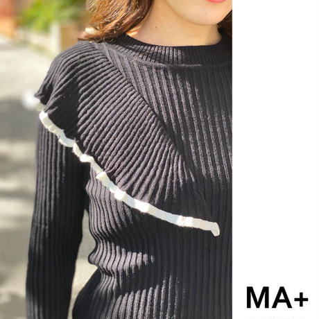★soldout★アシンメトリーワイドフリル ニット tops  3color ma038
