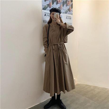 ★soldout★シャツワンピ トレンチ風 ロングワンピース ウエストマーク ma031