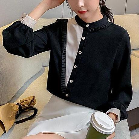 ★soldout★バイカラー ラウンドネックシャツ  ma025