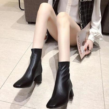 ★soldout★シンプル ショートブーツ スクエア ma026