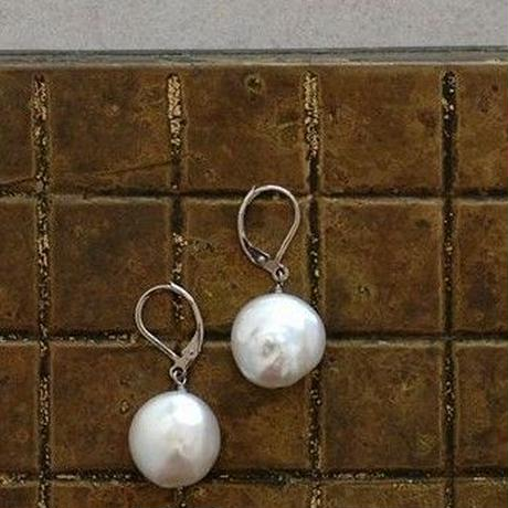 Flat pearl pierce  【silver/gold】